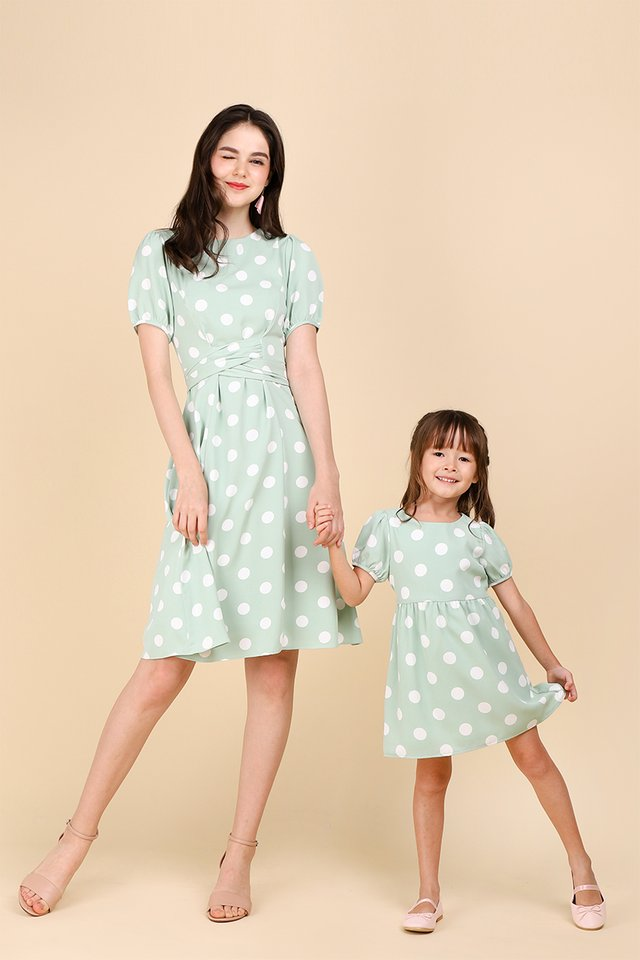 Wishing In Wonderland Dress In Jade Dots