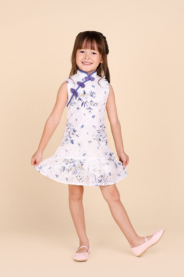 Blooming Heart Cheongsam Dress In White Florals