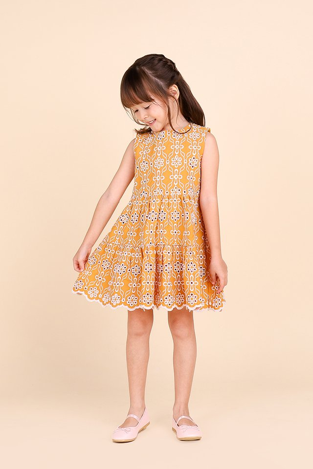 Dreamy Cottage Dress In Honey Mustard