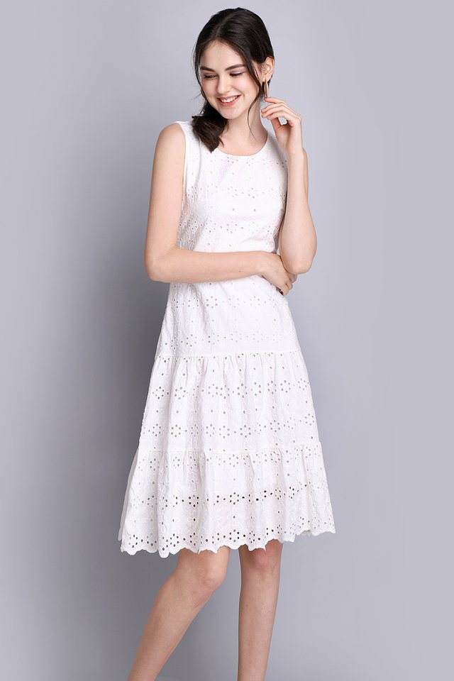Cotton Candy Dreams Dress In Classic White