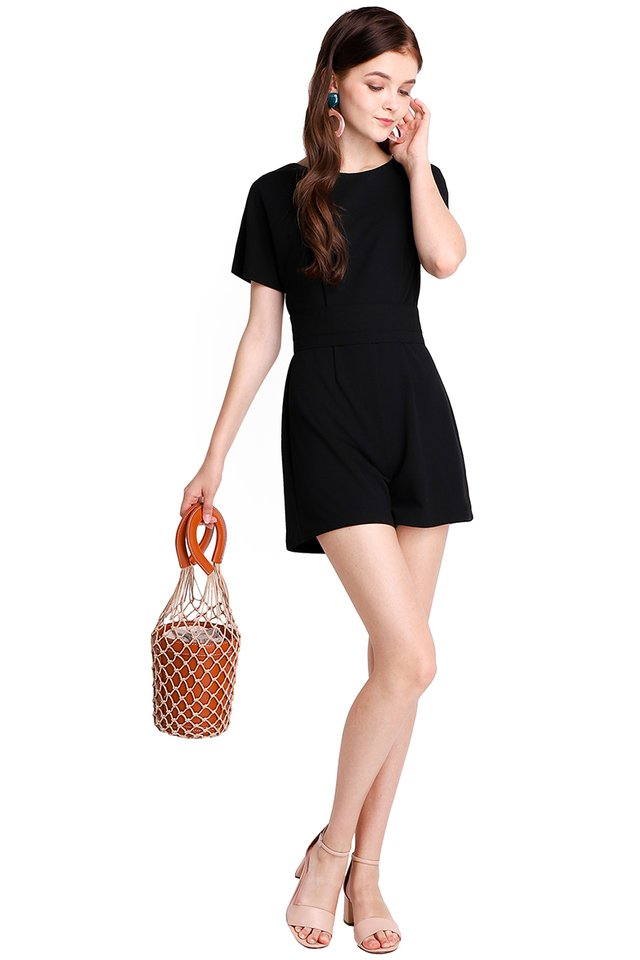 Weekend Strolls Romper In Classic Black