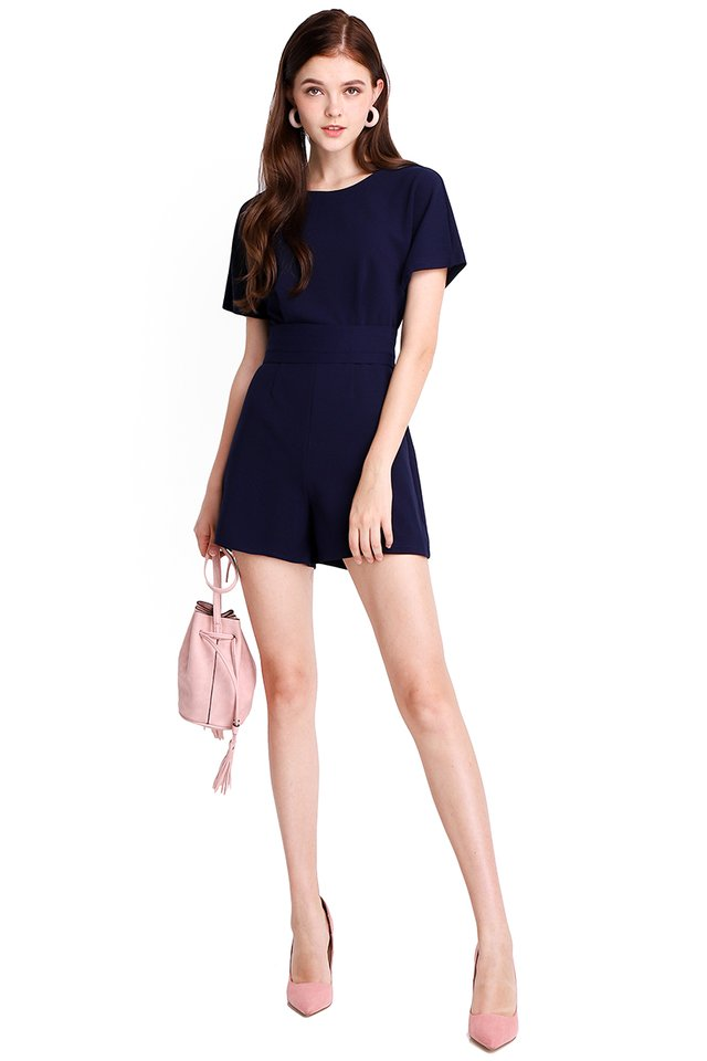 Weekend Strolls Romper In Navy Blue