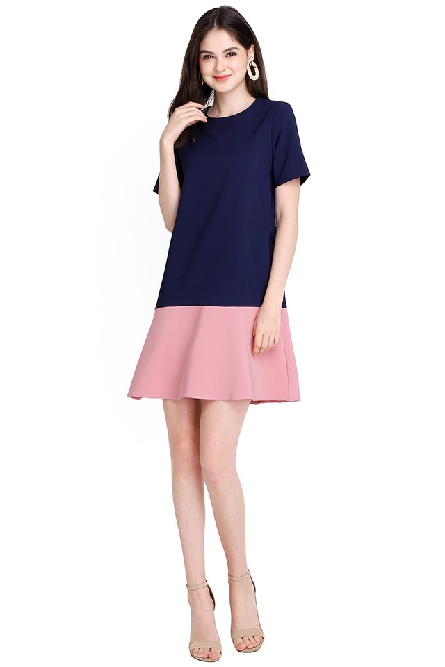 Elegantly Charming Dress In Blue Pink