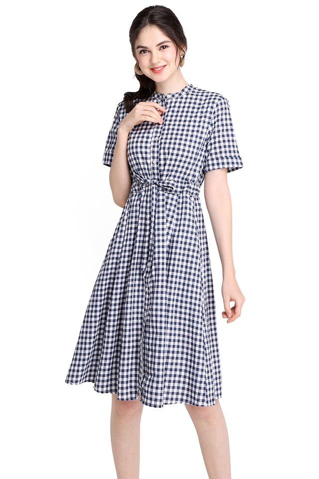 Chance Encounter Dress In Blue Checks