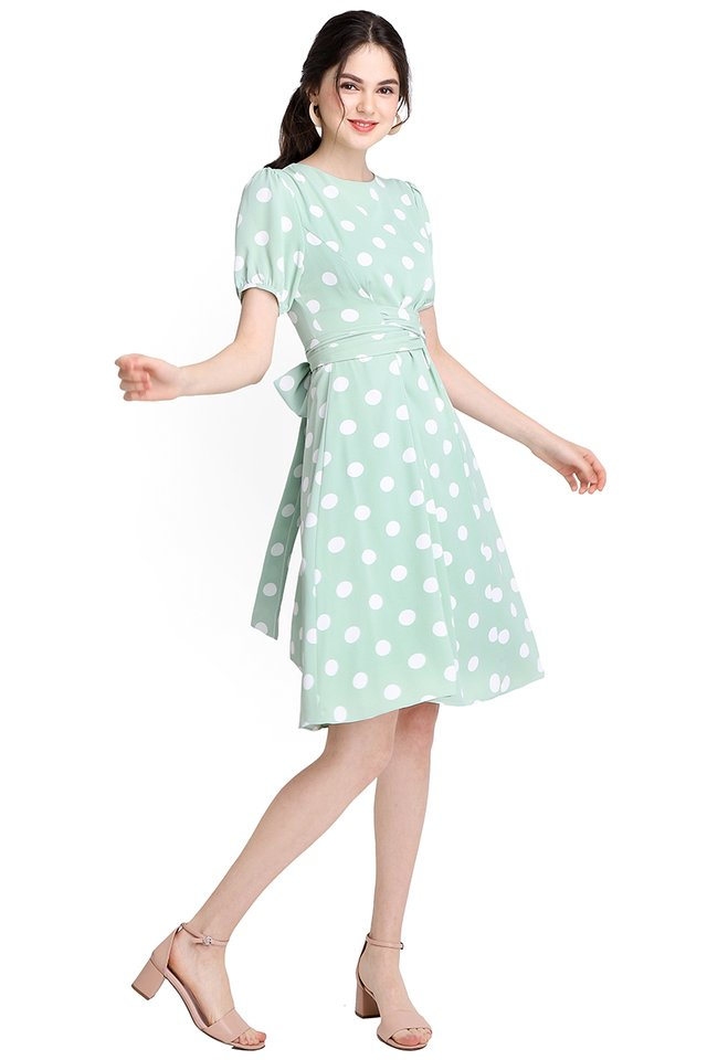 My Fair Lady Dress In Jade Dots