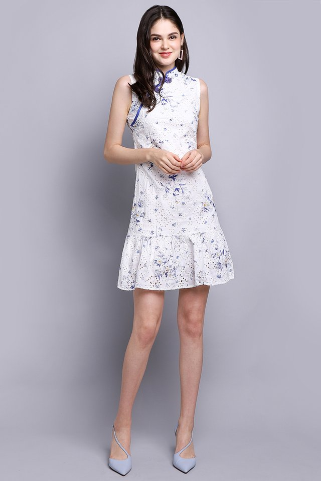 Exquisite Blooms Cheongsam Dress In White Florals