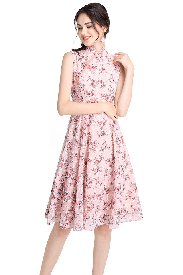 [PO] Bouquet Of Love Cheongsam Dress In Pink Florals