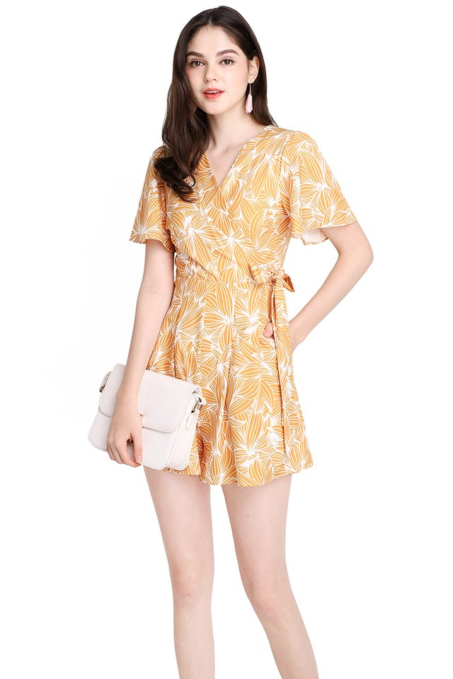 Endless Possibilities Romper In Yellow Prints