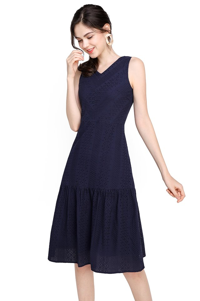 Delicate Dreams Dress In Navy Blue