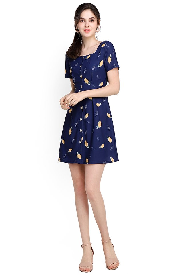 Zest For Life Dress In Blue Lemons