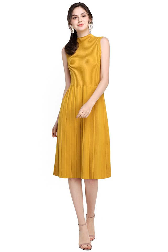 Winter Romance Dress In Mustard Yellow