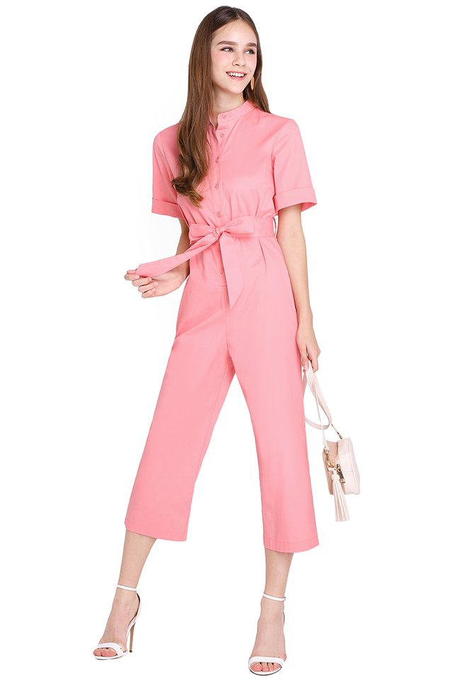Safari Trip Romper In Candy Pink