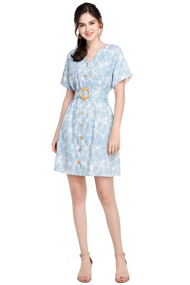 Garden Blossoms Dress In Sky Prints