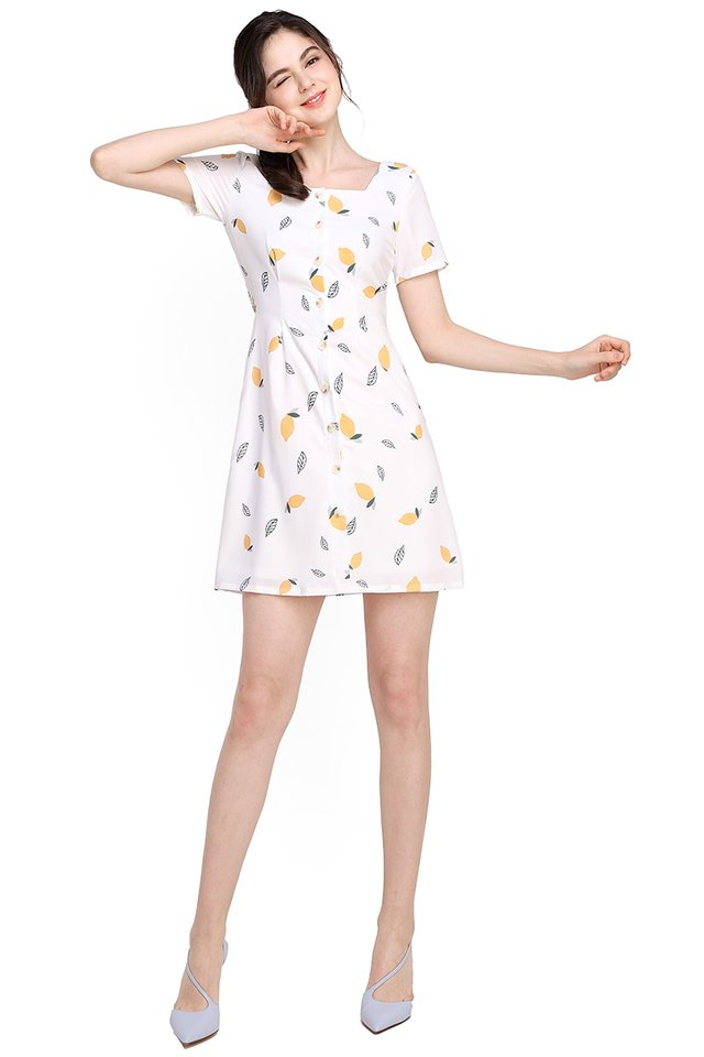 Zest For Life Dress In White Lemons