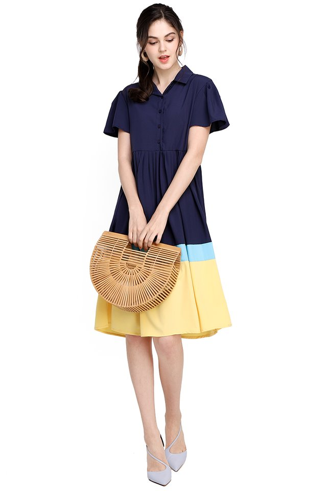 Rainy With A Chance Of Sunshine Dress In Blue Yellow
