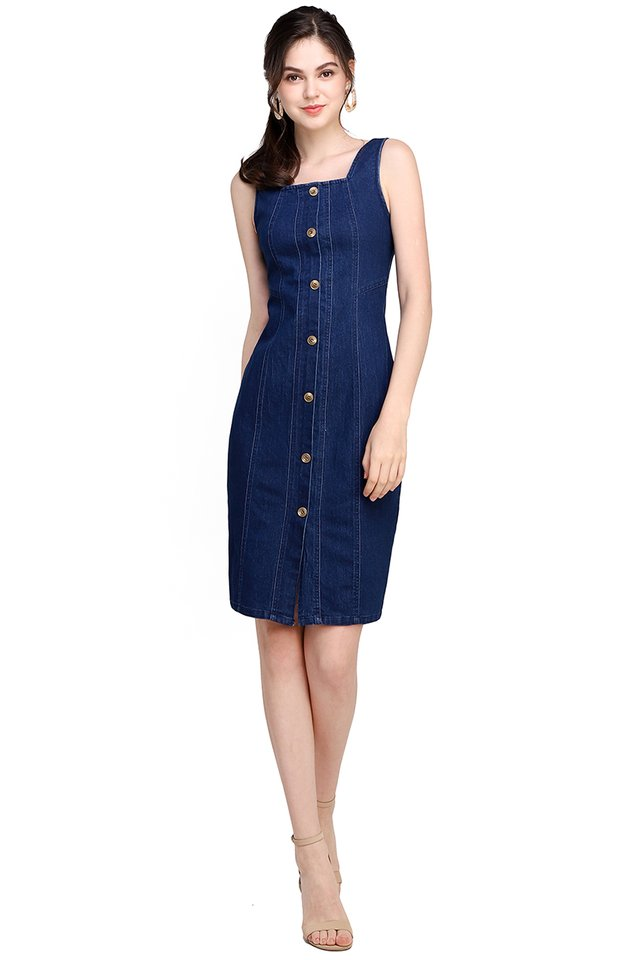 Shape Of You Dress In Dark Wash