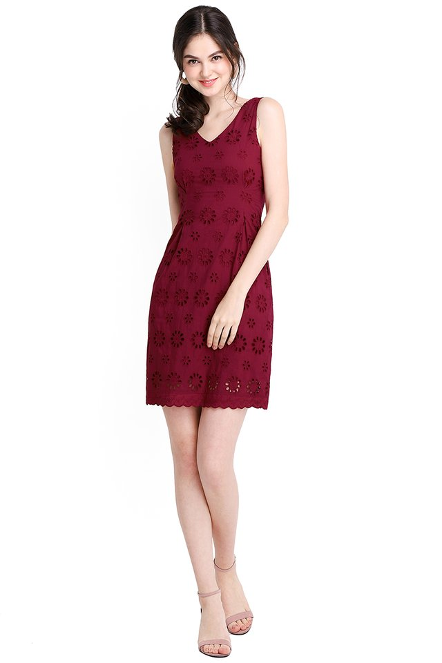 Picture Of Bliss Dress In Wine Red