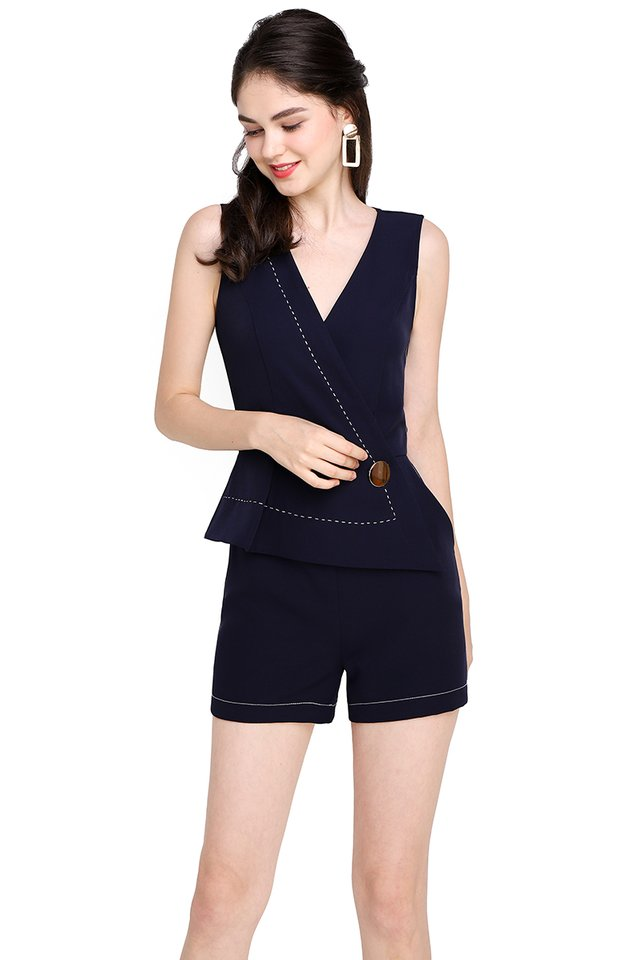 Touch Of Charisma Romper In Navy Blue
