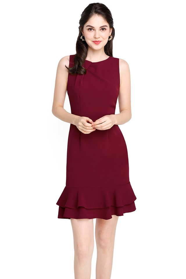 Captivated By You Dress In Wine Red
