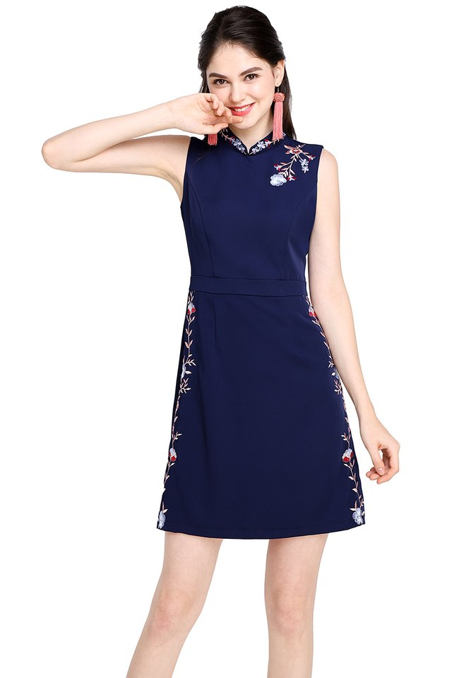Abundance Of Blessings Cheongsam Dress In Navy Blue