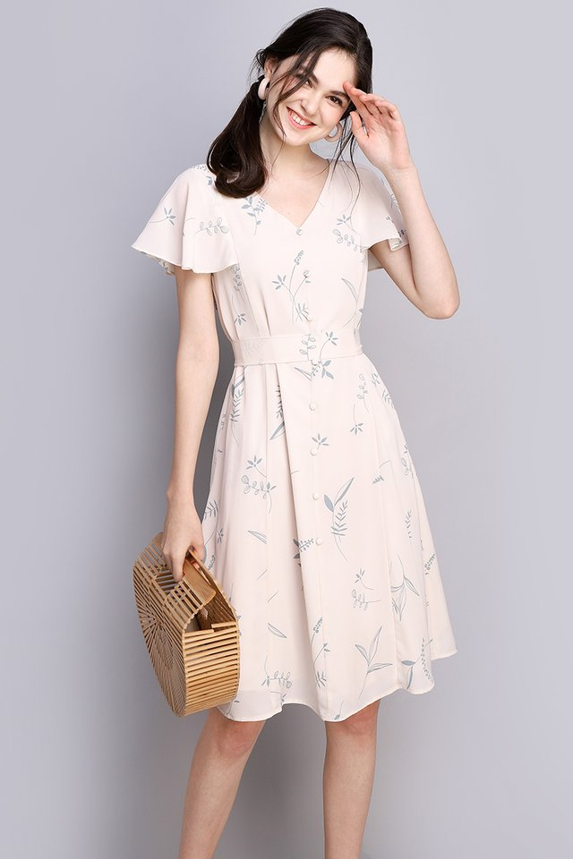 Spring Merriment Dress In Cream Florals
