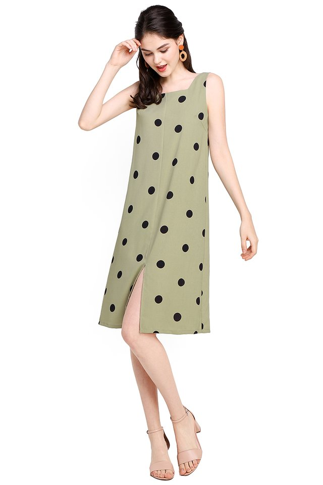Holiday Bucket List Dress In Olive Dots