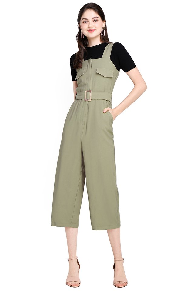 Stockholm Adventures Romper In Olive Green