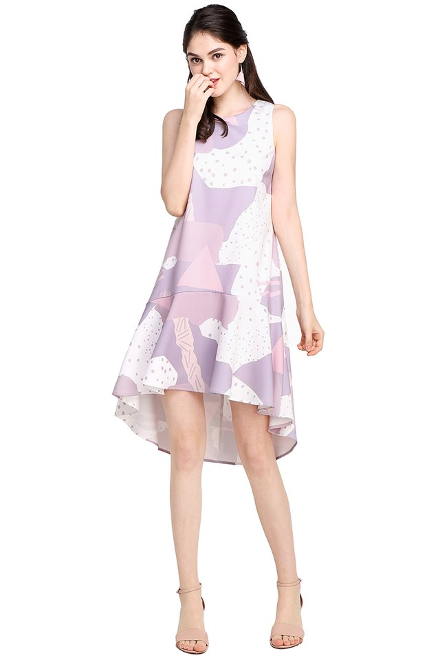 Yours Truly Dress In Lilac Prints