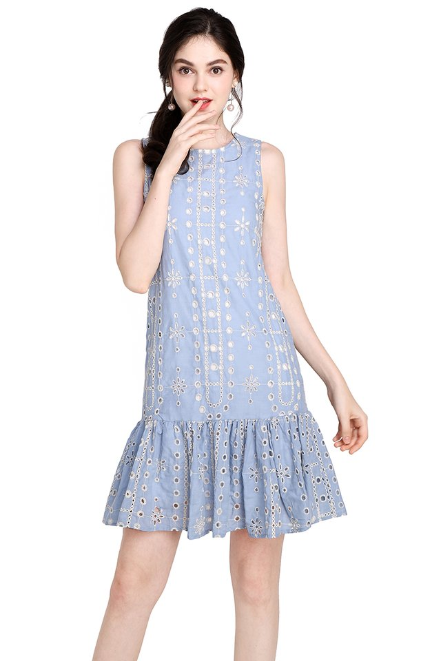 Cakes And Butterflies Dress In Sky Blue