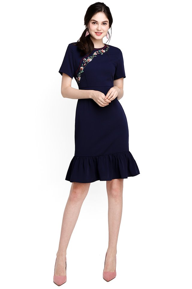 Happiness In Bloom Dress In Navy Blue
