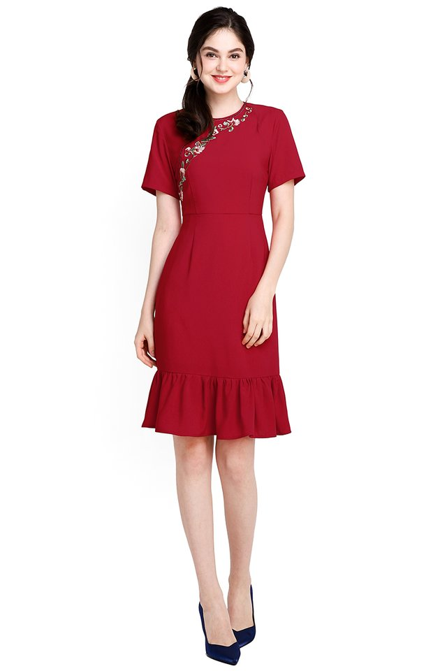 Happiness In Bloom Dress In Festive Red