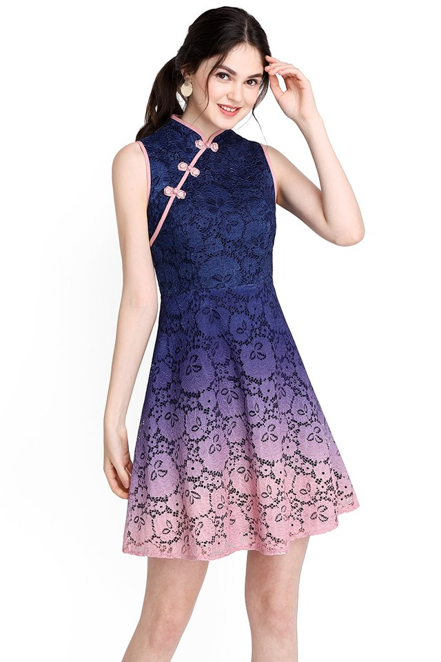 Song Of Spring Cheongsam Dress In Blue Pink