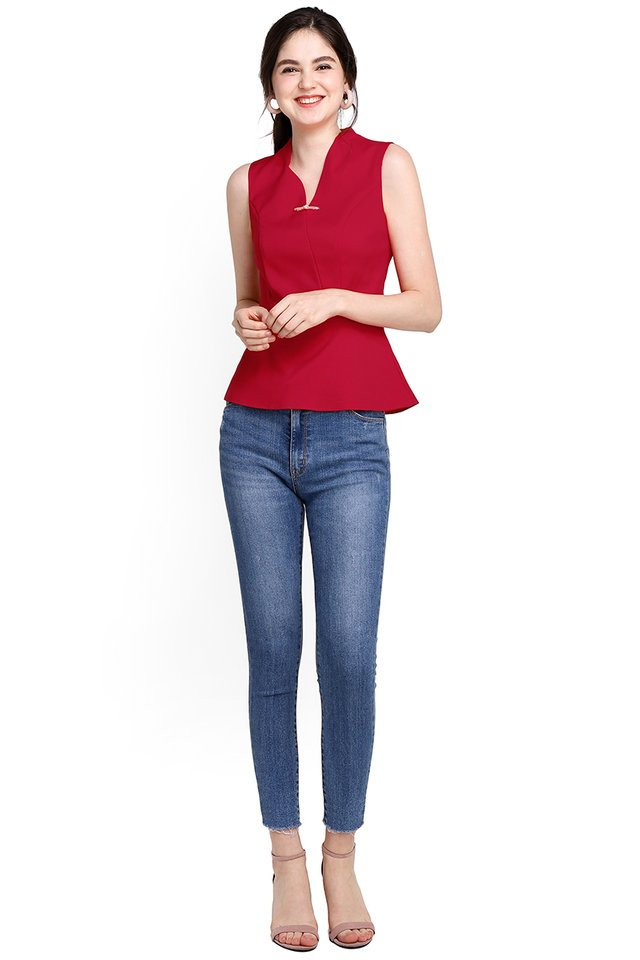 Ode To Spring Top In Festive Red