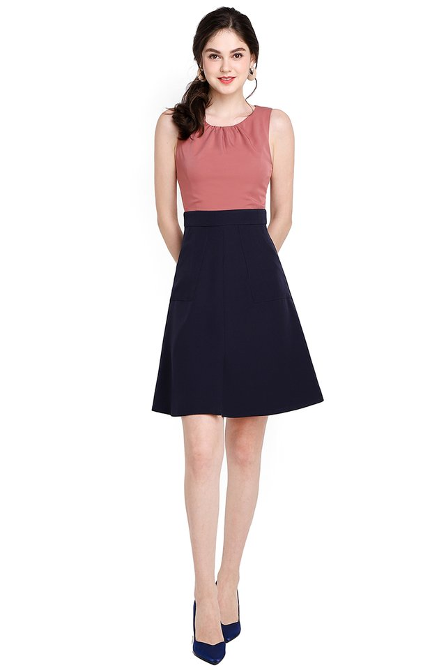 New York City Dress In Rose Blue