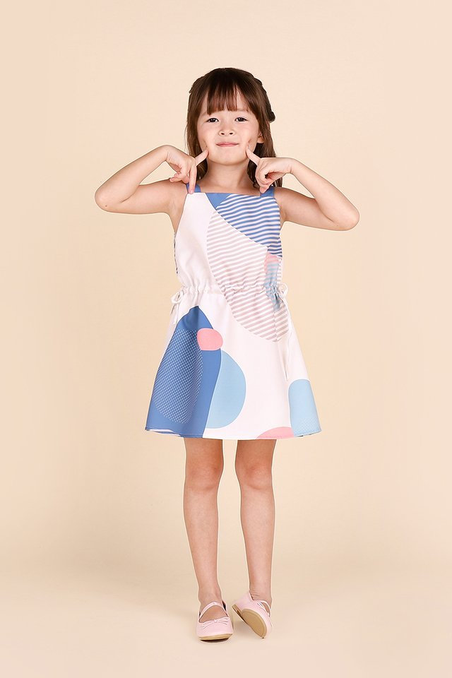 Dotted Delight Dress In Blue Prints