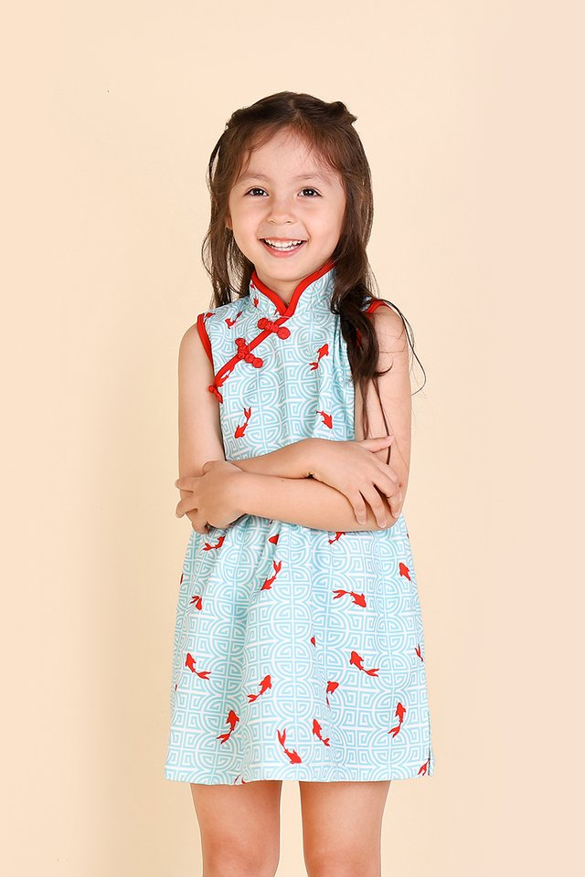 Precious Moments Cheongsam Dress In Mint Prints