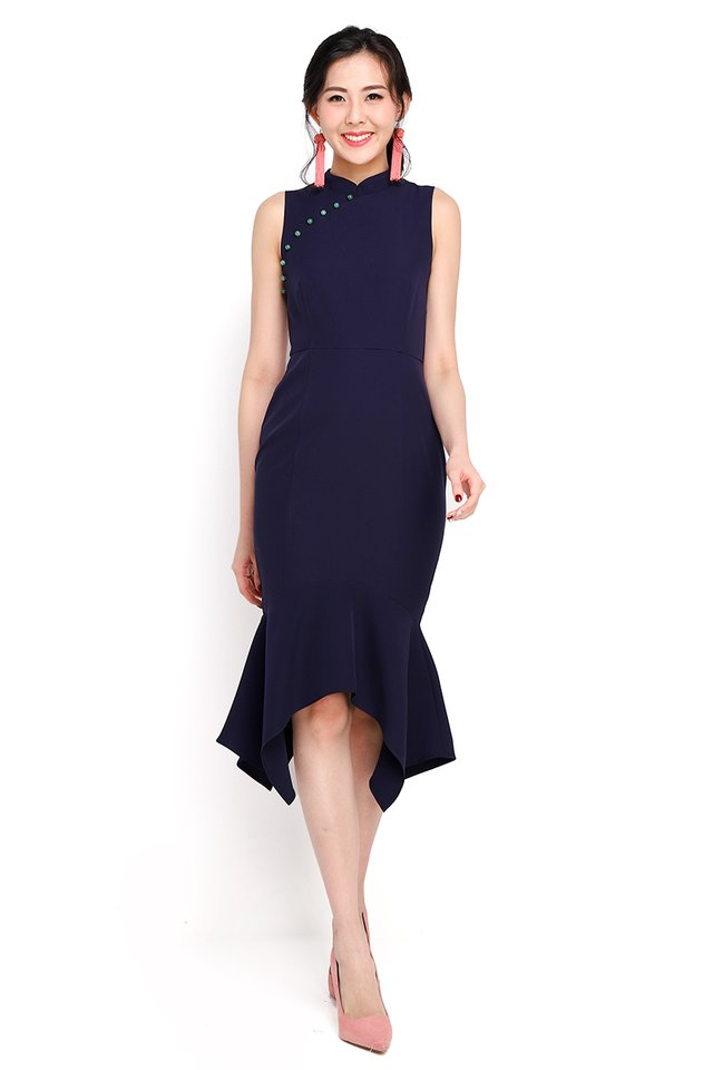 Dance Of Spring Cheongsam Dress In Navy Blue