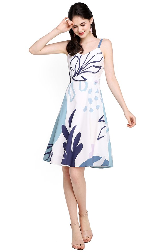 Doodle Perfect Dress In Blue Prints