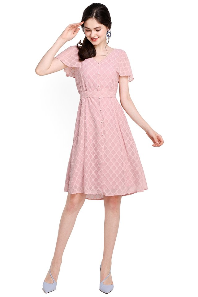 Spring Merriment Dress In Dusty Pink