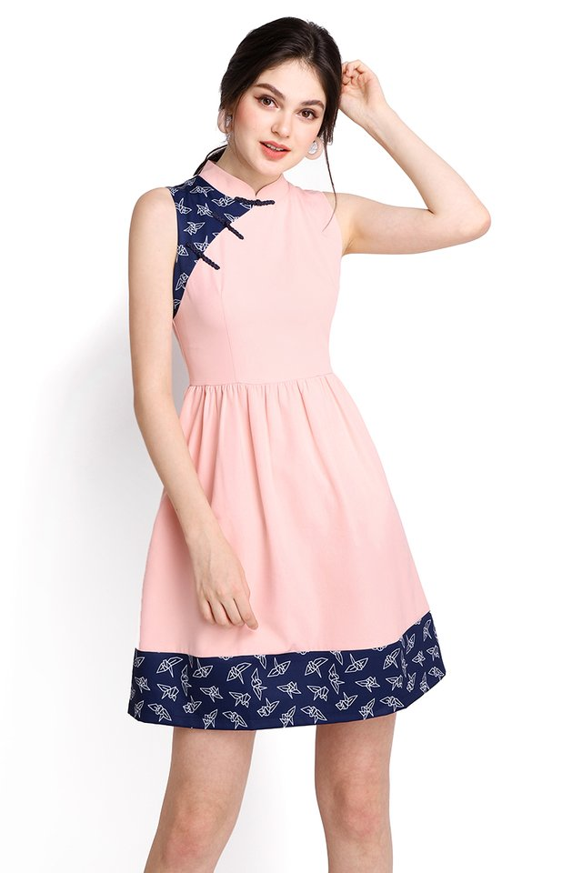 Origami Crane Cheongsam Dress In Soft Pink