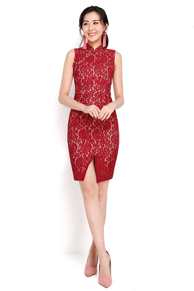 Chinoiserie Traditions Cheongsam Dress In Wine Red
