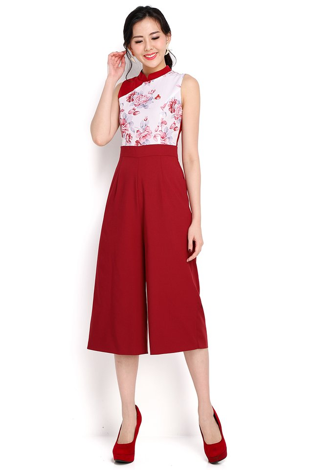 Shanghai Bund Cheongsam Romper In Wine Red