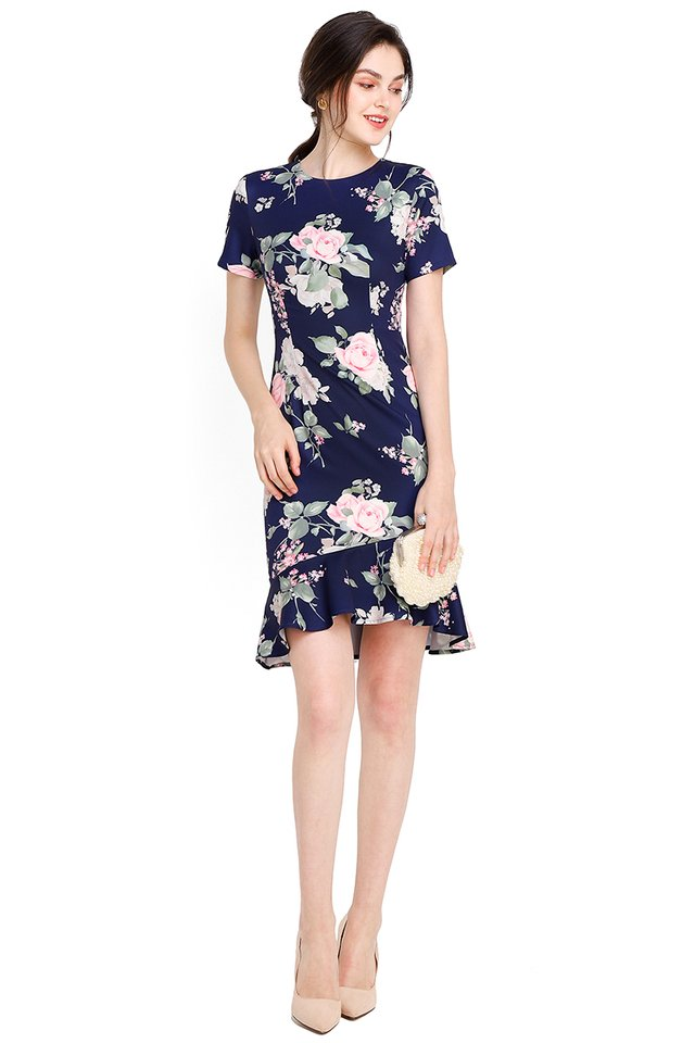 Camellia Chronicles Cheongsam Dress In Blue Florals