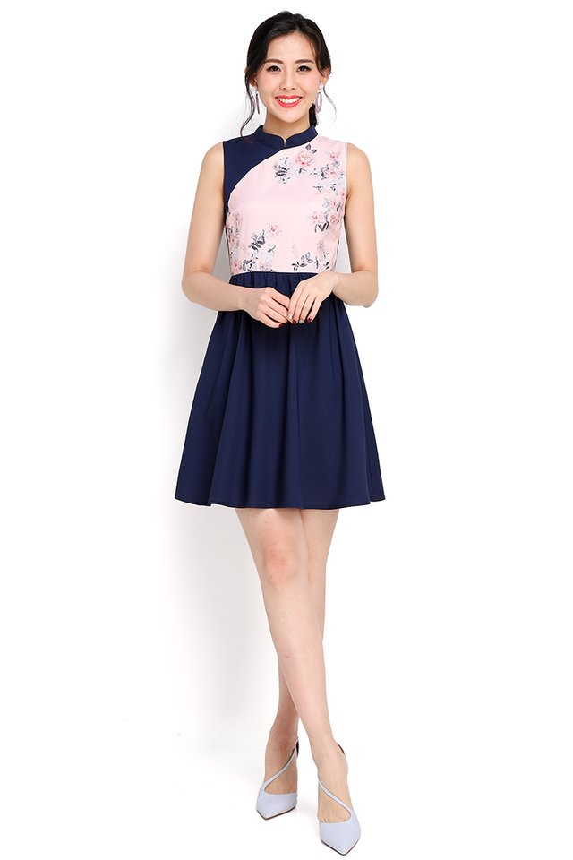Budding Romance Cheongsam Dress In Navy Blue