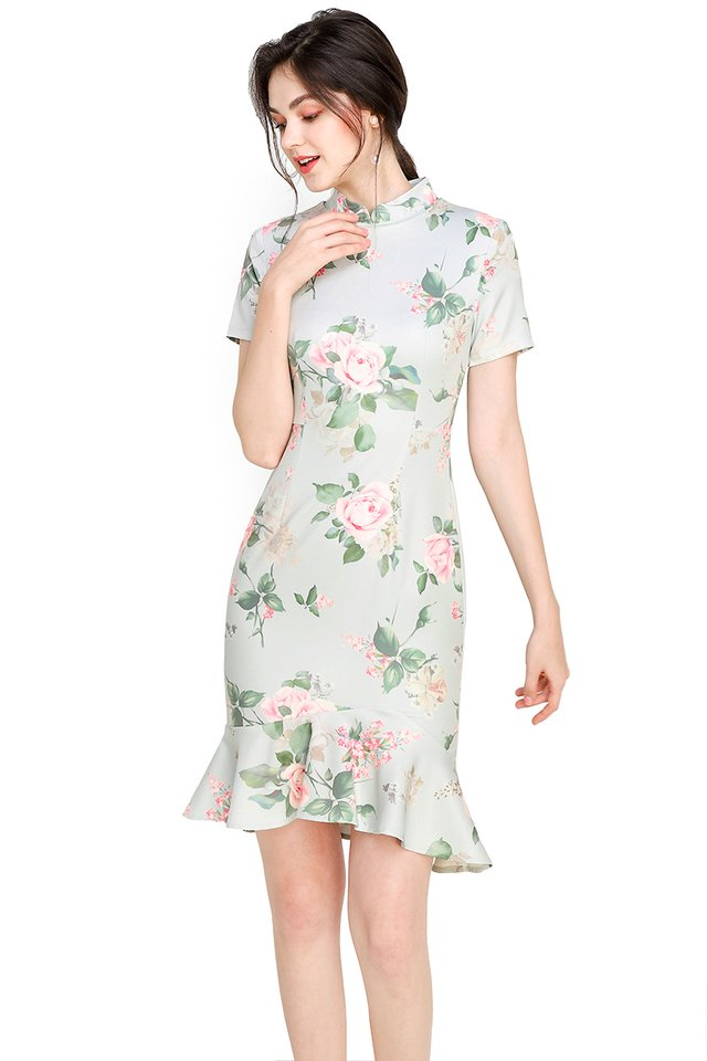 Camellia Chronicles Cheongsam Dress In Jade Florals