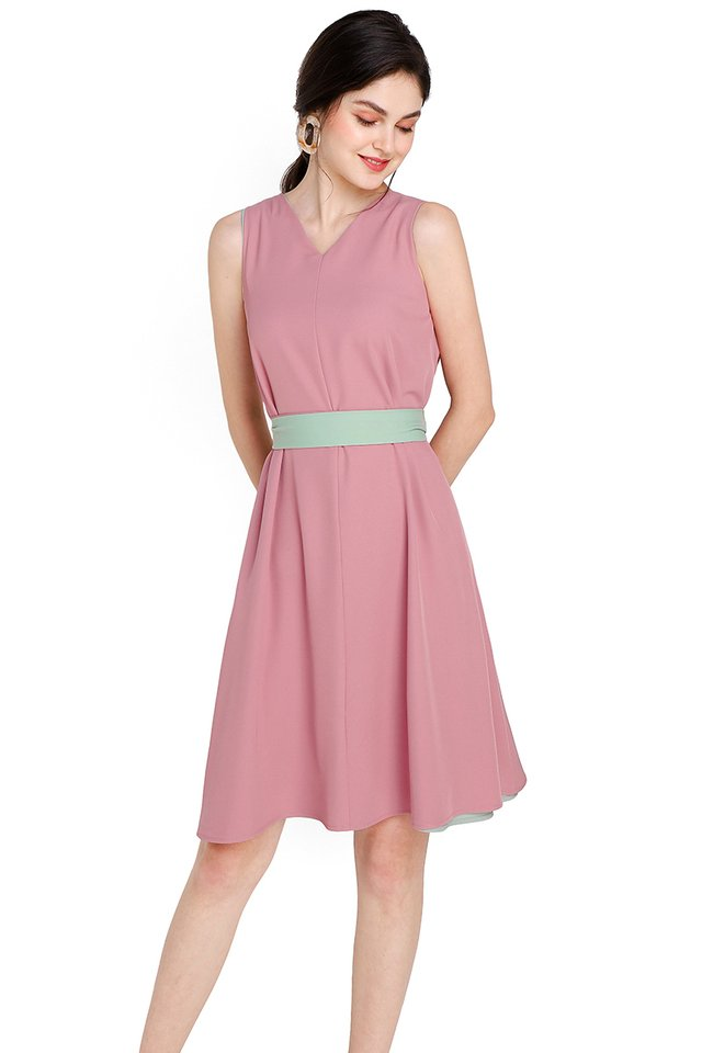 Miss Optimist Dress In Pink Sage