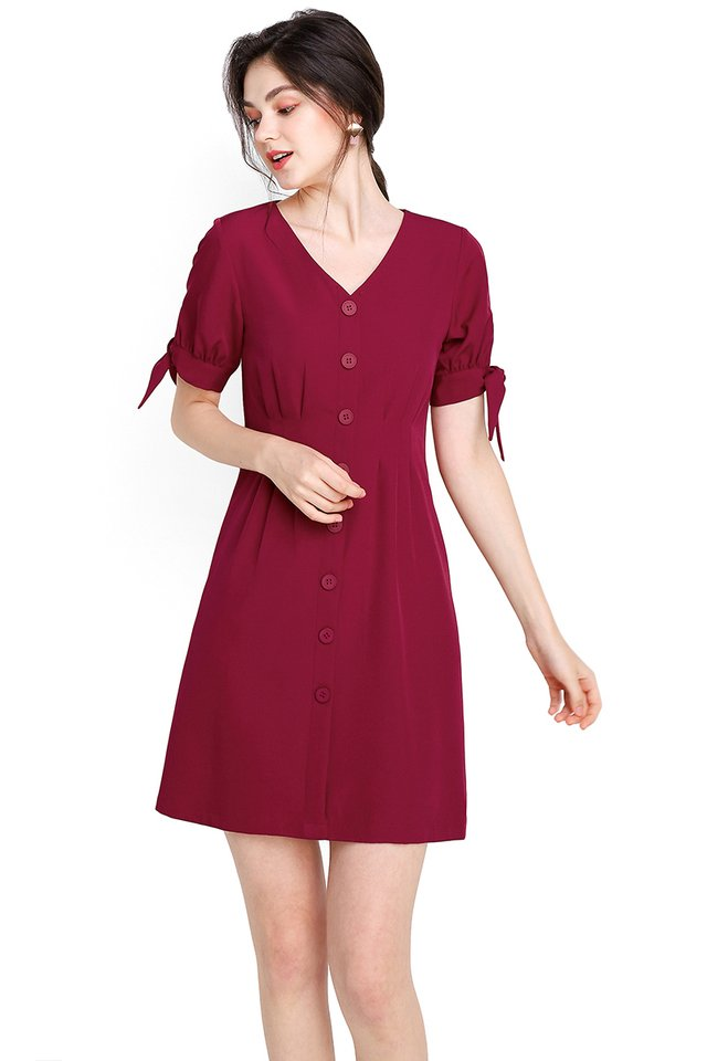 Warm Affection Dress In Wine Red