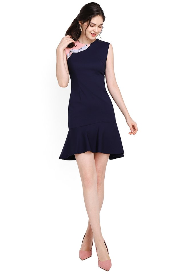 Bespoke Finesse Cheongsam Dress In Navy Blue