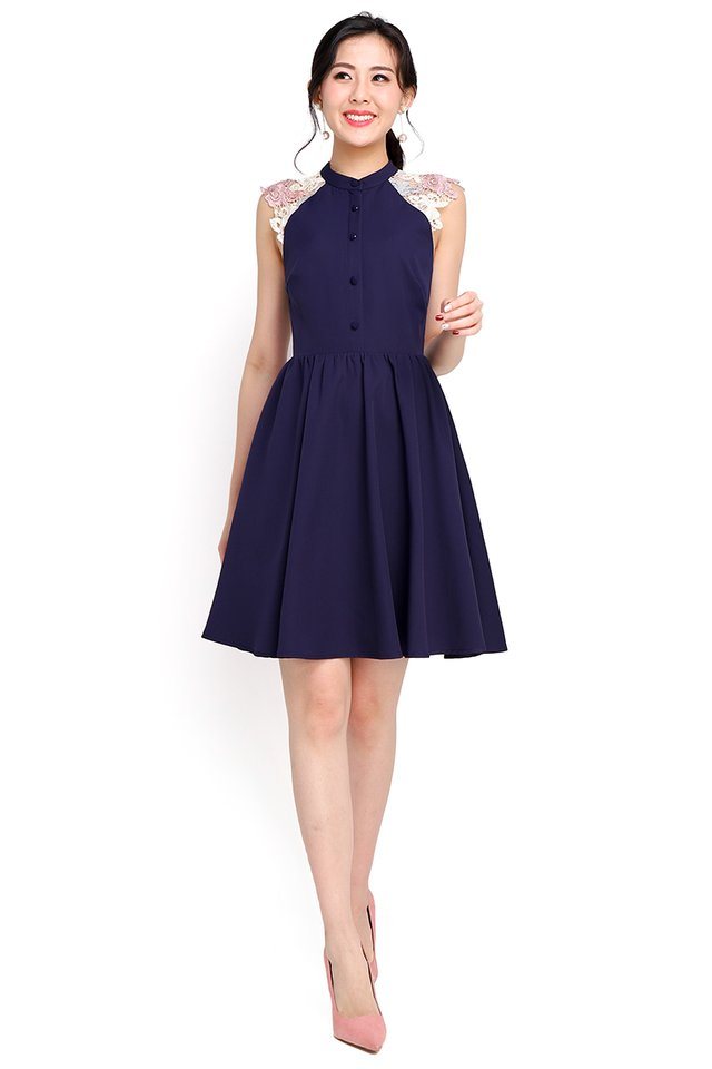 Wisteria Garden Dress In Navy Blue