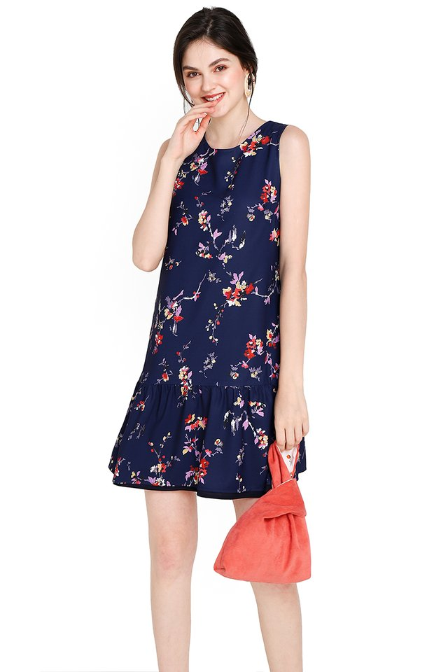 Blooming Marigold Dress In Blue Florals